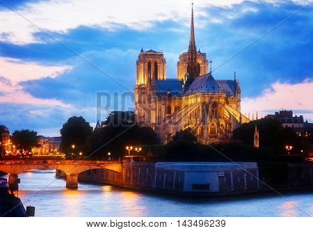 Notre Dame cathedral church at sunset, Paris, France, toned