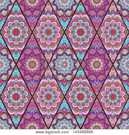 Rhombus Boho Flower Tile Pattern. Mandala patchwork, floral elements. Oriental hippie design. Unusual decorative ornament. Wallpaper, fabric print, furniture textile, pillow deco. Vector background
