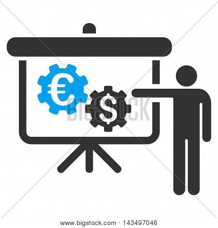 International Industry Project Presentation icon. Vector style is bicolor flat iconic symbol with rounded angles, blue and gray colors, white background.