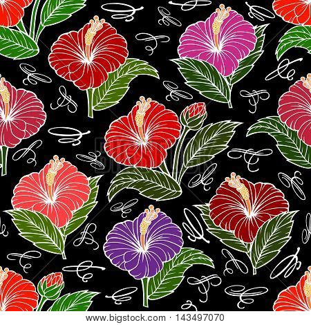 Illustration of seamless floral pattern with hibiscus flowers and calligraphic elements