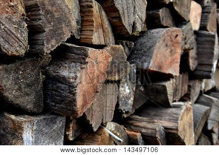 Background of dry chopped firewood logs stacked up in a pile