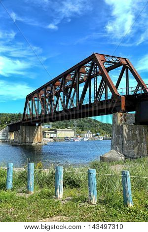 Port Daniel train bridge in Gaspesie, Quebec, Canada