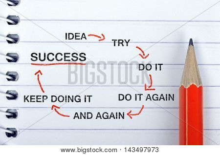 Success Scheme text on notepad and red pencil