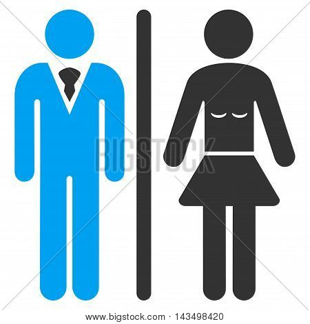 Toilet Persons icon. Vector style is bicolor flat iconic symbol, blue and gray colors, white background.