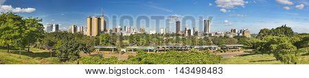 Nairobi Skyline And Uhuru Park Panorama, Kenya