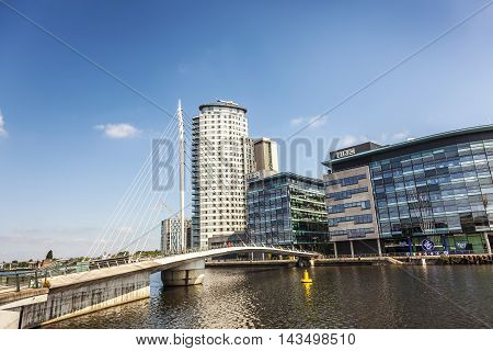 MANCHESTER, ENGLAND - MAY 29  Media City at the Salford Quays in Manchester, England on May 29, 2016.