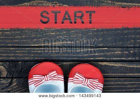 Girl shoes and start word