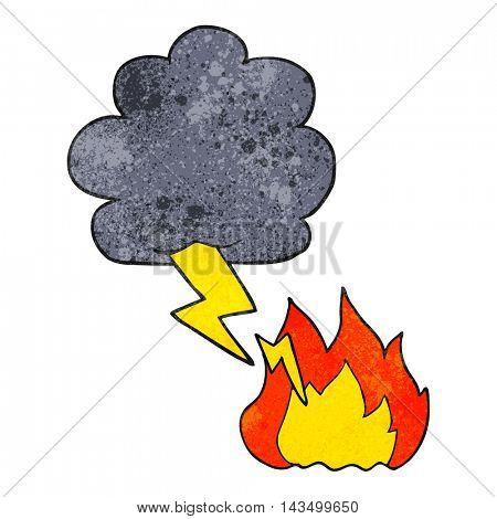 freehand textured cartoon thundercloud lightning strike