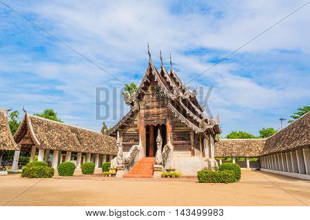 Wat Ton Kain Old temple made from wood in Chiang Mai Thailand.