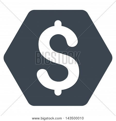 Dollar Hexagon icon. Vector style is flat iconic symbol with rounded angles, smooth blue color, white background.