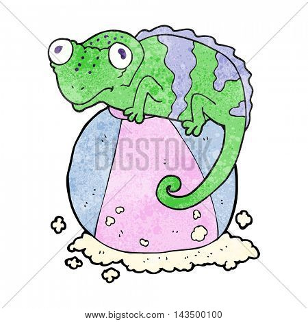 freehand textured cartoon chameleon on ball