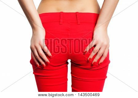 Female Hip in Red Pants on white