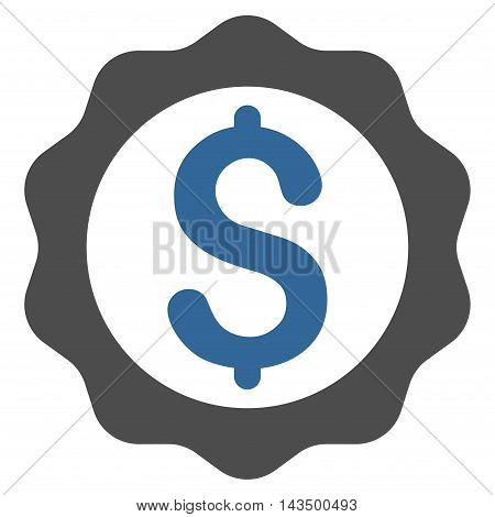 Banking Seal Stamp icon. Glyph style is bicolor flat iconic symbol with rounded angles, cobalt and gray colors, white background.