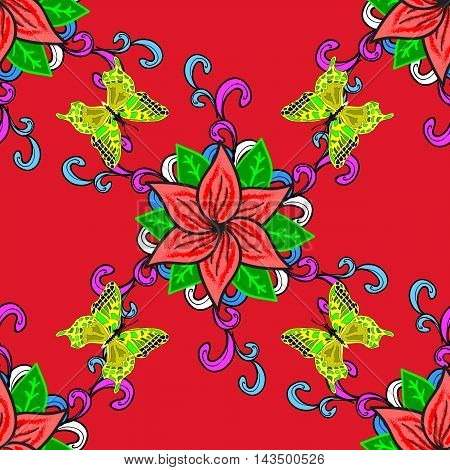 seamless pattern hand drawn red flowers and green leaves on a red background with green butterflies.