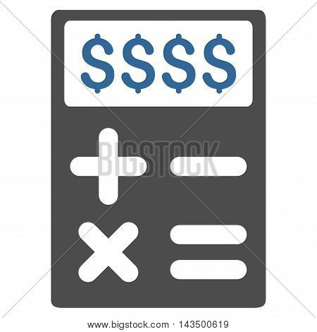 Business Calculator icon. Glyph style is bicolor flat iconic symbol with rounded angles, cobalt and gray colors, white background.