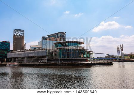 Modern buildings at the Salford Quays in Manchester.