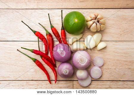 Asian ingredients food. Chilli, fragrant, garlic, lemon.
