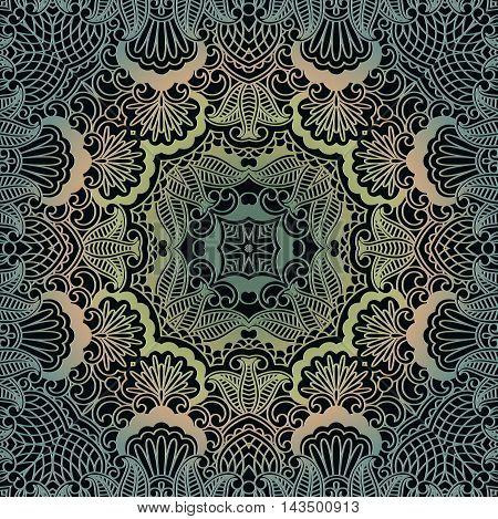 embossed floral vintage pattern. Decor on a dark background