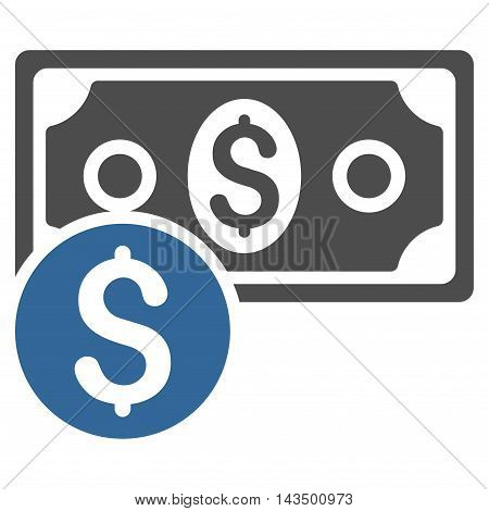 Dollar Cash icon. Glyph style is bicolor flat iconic symbol with rounded angles, cobalt and gray colors, white background.
