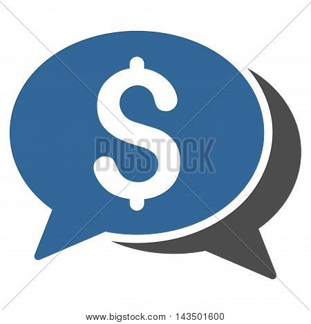 Money Chat icon. Glyph style is bicolor flat iconic symbol with rounded angles, cobalt and gray colors, white background.