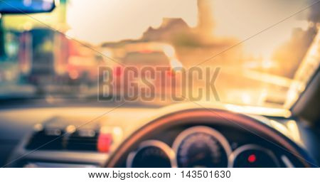 Blur Image Of Inside Cars With Bokeh On Day Time .
