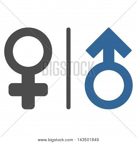 WC Gender Symbols icon. Glyph style is bicolor flat iconic symbol, cobalt and gray colors, white background.