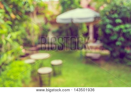 Image Of Abstract Blurred Outdoor Coffee Hut .