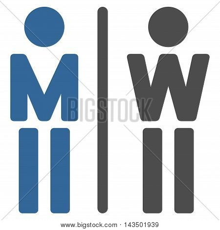 WC Persons icon. Glyph style is bicolor flat iconic symbol, cobalt and gray colors, white background.