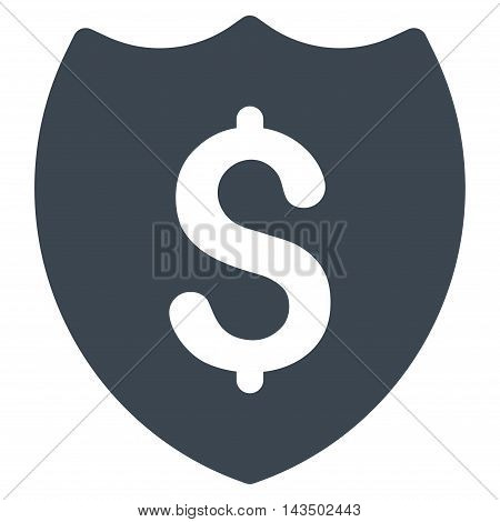 Financial Shield icon. Glyph style is flat iconic symbol with rounded angles, smooth blue color, white background.