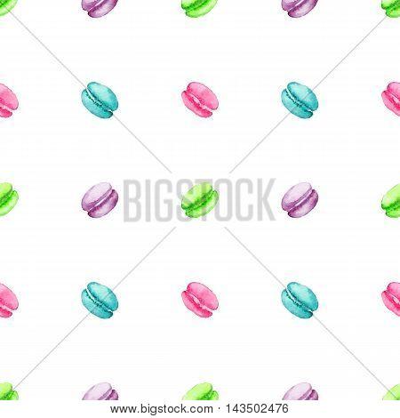 Watercolor sweet dessert fruit berry macaroon seamless pattern background texture
