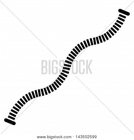 Flexible Pipe icon. Vector style is flat iconic symbol, black color, white background.