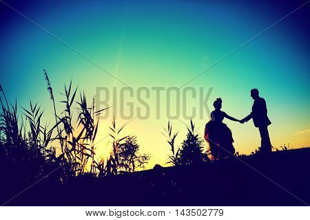 Silhouette, Shape of a bride and groom at sunset. Newlyweds with background in nature