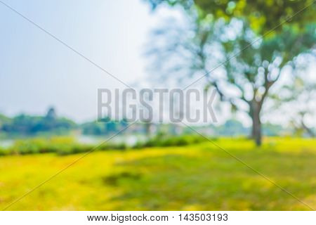 Blur Image Of River And Grass Field