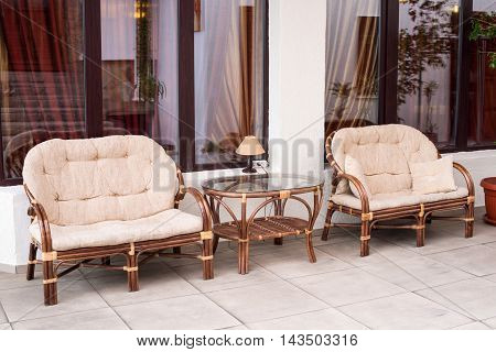 Set of furniture from rattan house, elegance