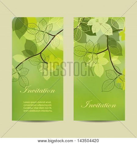 Set of vertical banners. Tree brunch with abstract leaves on green background. Vector illustration.