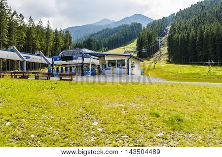 Zuberec Slovakia - August 20 2016: Station chairlift (Rohace - Spalena Tatra west) in the mountains also open in the summer.