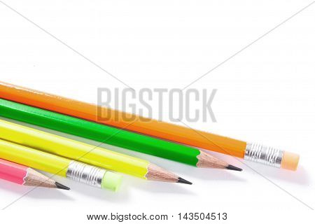 Colorful Pencils, Lead Pencils Isolated On White