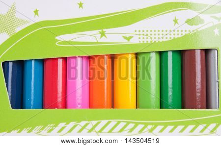 Colored pencils isolated on white background, school.