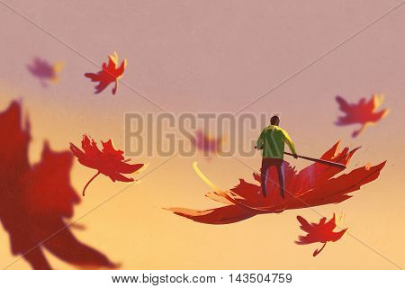 autumn falling, small man rowing maple leaf floating in the sky, illustration painting