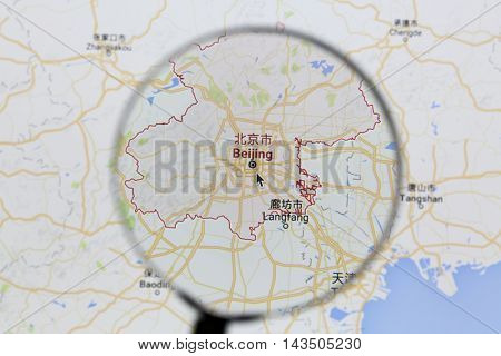 Ostersund, Sweden - Aug 21, 2016: Beijing on Google Maps under a magnifying glass. Beijing is the capital of the People's Republic of China
