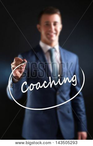 Business training concept. Businessman writing on screen, close-up