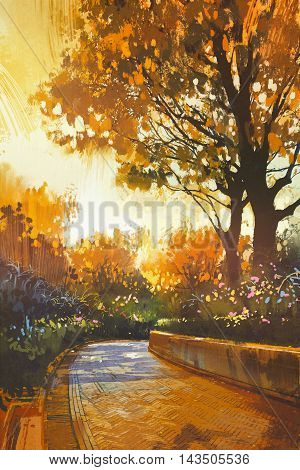 walkway in the park with colorful autumn trees, illustration painting