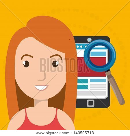woman smartphone search new vector illustration design