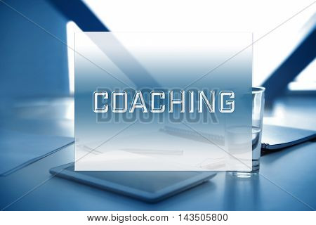 Workplace with tablet and documents. Coaching concept