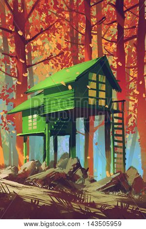 green houses in autumn fores, tillustration painting