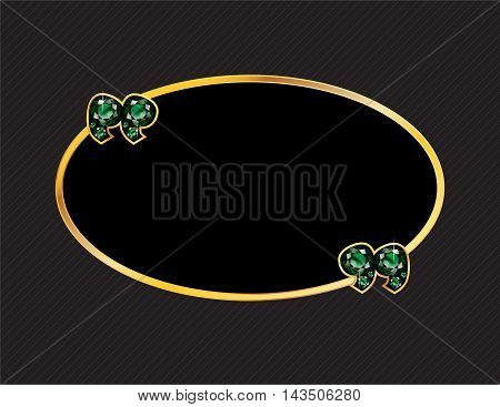 Emerald Stone Quotes on Gold Metal Speech Bubble over Pinstripe Background