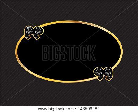 Onyx Stone Quotes on Gold Metal Speech Bubble over Pinstripe Background