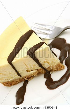 A slice of cheesecake with chocolate sauce.