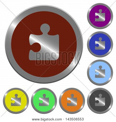 Set of color glossy coin-like puzzle piece buttons