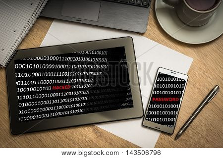 Digital Tablet With Hacked Binary Code On Screen